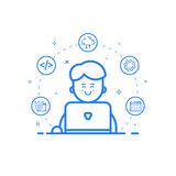 Vector illustration of blue icon in flat line style. Linear cute and happy man with laptop. Royalty Free Stock Photography