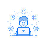 Vector illustration of blue icon in flat line style. Linear cute and happy man with laptop. Stock Images