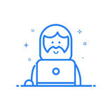 Vector illustration of blue icon in flat line style. Linear cute and happy man with laptop. Stock Photo