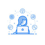 Vector illustration of blue icon in flat line style. Linear cute and happy woman with laptop. Royalty Free Stock Photography