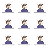Vector illustration of blue icons in flat line style. Graphic design concept of Emoji and Avatar. Vector illustration of colored icons in flat line style Stock Photography