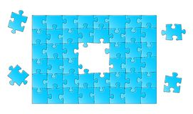 Jigsaw puzzle. Vector illustration of a blue jigsaw puzzle Stock Image