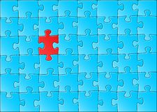 Jigsaw puzzle. Vector illustration of a blue jigsaw puzzle with one red piece vector illustration