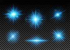 Vector illustration of blue lights set Stock Photography