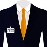 Vector illustration of  blue man suit with orange tie and white shirt. Vector  illustration of  blue man suit with orange tie and white shirt Royalty Free Stock Photo