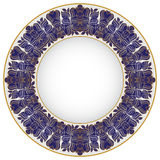 Vector illustration of blue oriental tray Royalty Free Stock Images