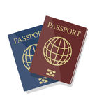 Vector illustration of blue and red biometric passports with glo Stock Photo
