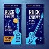 Vector illustration blue rock festival ticket design template with guitar. For music concert, events with grunge effects vector illustration