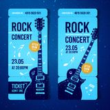 Vector illustration blue rock festival ticket design template with guitar. For music concert, events with grunge effects royalty free illustration