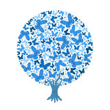 Vector illustration blue round tree of butterflies. On white background Royalty Free Stock Photo