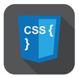 Vector illustration of blue shield with css style and curves on