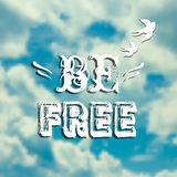 Vector illustration with blue sky, swallows and phrase Royalty Free Stock Image