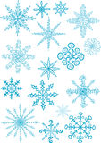 Vector illustration of blue snowflakes bunch. On isolated white background vector illustration