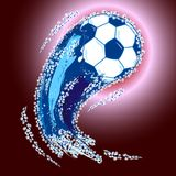 Blue soccer ball with shining splash tail, vector illustration. Vector illustration with blue soccer ball with shining splash tail, red background Royalty Free Stock Image