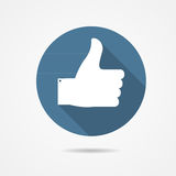 Vector Illustration of Blue Thumb Up Icon with. Long Shadow EPS10 vector illustration