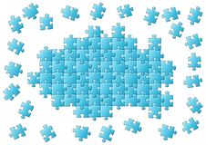 Unfinished puzzle. Vector illustration of an blue unfinished puzzle Stock Images