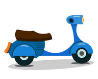 Vector Illustration Of Blue Vintage Cartoon Scooter. Isolated On White Stock Photo