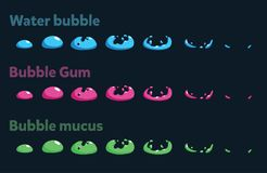Sprite sheet of a blue water bubble, bubble gum, bubble mucus. Animation for cartoon or game. Vector illustration of a blue water bubble, bubble gum, bubble Stock Images