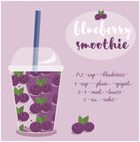 Vector illustration of Blueberry Smoothie recipe with ingredients. Vector illustration of Pineapple  Smoothie recipe with ingredients. Template for restaurant Stock Images