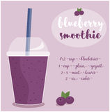 Vector illustration of Blueberry Smoothie recipe with ingredients. Template for restaurant or cafe menu.Smoothie isolated,Smoothie recipe,Smoothie glass Royalty Free Stock Images