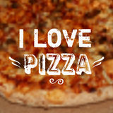 Vector illustration with blurred pizza background and `I love pizza` phrase. vector illustration