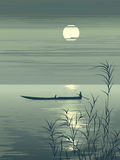 Vector illustration boat on lake against the Moon. Royalty Free Stock Photo
