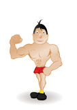 Vector illustration the body builder in red pants Stock Image