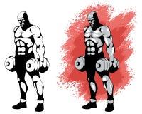 Bodybuilder in two variants Stock Image