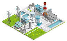 Vector Illustration Of Boiler Factory. For production of thermal and electrical energy with power line supports isometric concept Stock Photography