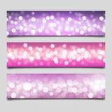 Bokeh banner templates. Vector illustration of bokeh banner templates in light pink and violet colors Stock Photo