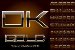 Vector illustration of boldest golden letters. Black letters on gold background Stock Image