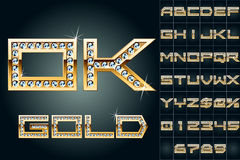 Vector illustration of boldest golden letters Stock Photos