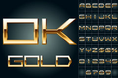 Vector illustration of boldest golden letters. Shiny gold letters on dark background Royalty Free Stock Photo
