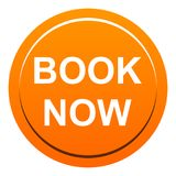 Book now button. Vector illustration of book now web orange round button on white background Stock Images