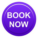 Book now button. Vector illustration of book now web violet round button on white background Royalty Free Stock Images