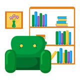 Vector illustration with bookcase and armchair Royalty Free Stock Photos