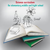 Vector illustration,books and graphic elements. Poster for education Royalty Free Stock Photography