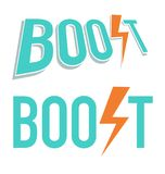 Vector illustration of Boost word. In blue and orange colors Stock Image