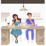 Vector illustration of bored people - young tired and exhausted man and woman sitting at cafe with books and laptop. Vector illustration of bored people - young stock illustration