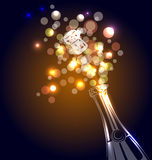 Vector illustration of a bottle of champagne Royalty Free Stock Photos