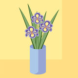 Vector illustration of bouquet of iris flowers. Card of purple a Royalty Free Stock Image