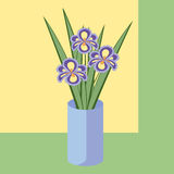 Vector illustration of bouquet of iris flowers. Card of purple flowers. Royalty Free Stock Photo