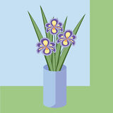 Vector illustration of bouquet of iris flowers. Card of purple flowers. Stock Photography