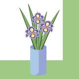 Vector illustration of bouquet of iris flowers. Card with purple flowers. Stock Image