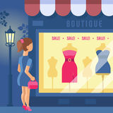Vector illustration of boutique. Girl looks at the shop window. Store building with a showcase. Clothing shop. Night city, street light. Trend modern flat Stock Photography