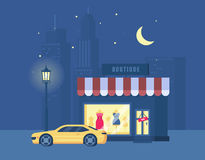 Vector illustration of boutique and sports car on the background of the city. Royalty Free Stock Images