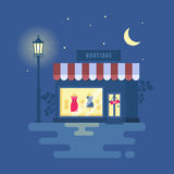 Vector illustration of boutique. Store building with a showcase. clothing shop. Night city, street light, starry sky. Trend modern flat pseudo volume style Royalty Free Stock Photos