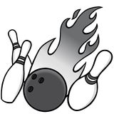 Bowling Illustration. A vector illustration of a bowling ball and pins Stock Image