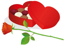 Vector illustration of a box with chocolat. Vector illustration of a heart shaped box with chocolates and red rose. All objects are isolated. Colors and Stock Photo