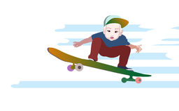 Vector illustration boy baby in a baseball cap to skateboard Royalty Free Stock Image